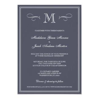 Formal Monogram   Blue Wedding 5x7 Paper Invitation Card