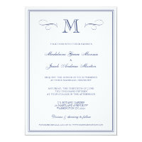 Formal Monogram | Dark Blue Wedding Card