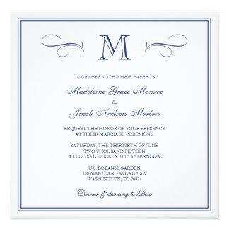 Formal Monogram | Dark Blue Wedding 5.25x5.25 Square Paper Invitation Card