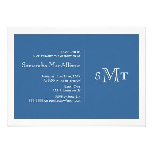 Formal Monogram Graduation Invitation - Blue