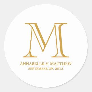 Formal Monogram Wedding Favor Label Classic Round Sticker