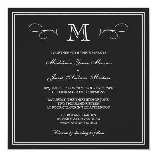 Formal Monogram Wedding 5.25x5.25 Square Paper Invitation Card