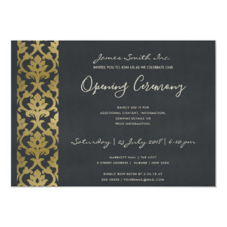 FORMAL NAVY BLUE FAUX GOLD DAMASK OPENING CEREMONY CARD