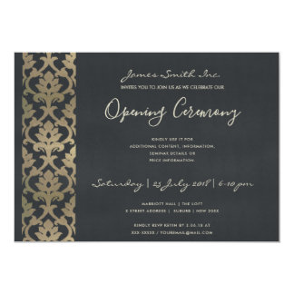 FORMAL NAVY FAUX SILVER DAMASK OPENING CEREMONY CARD