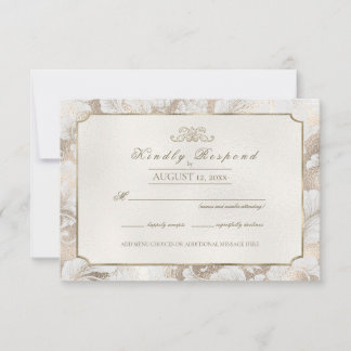Formal Paisley Champagne ID767 RSVP Card