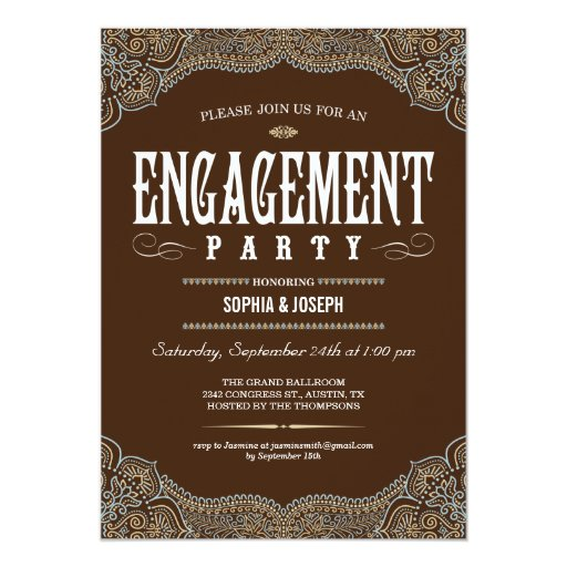 Formal Paisley Engagement Party Invitations