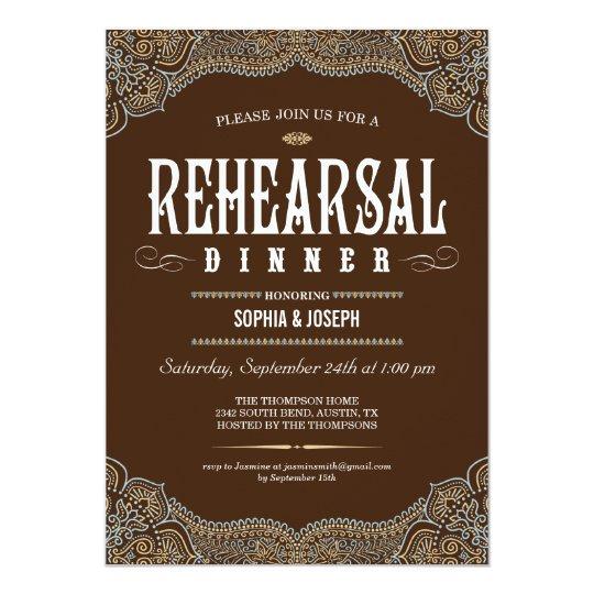 Formal Paisley Rehearsal Dinner Invitations