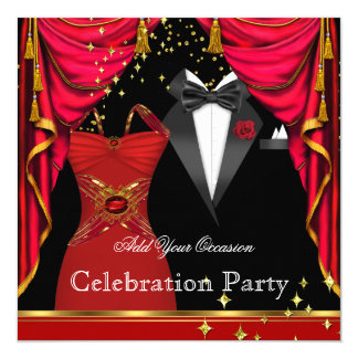 Formal Party Elegant Tuxedo Red Dress Event Card
