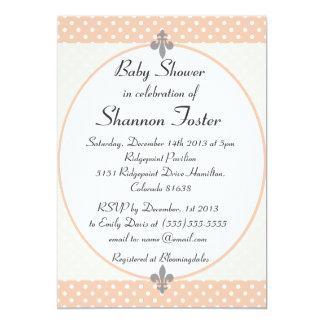 Formal Peach Polka Dots Baby Shower Invitation