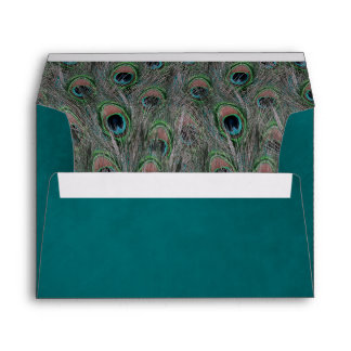 Formal Peacock Feathers Envelope