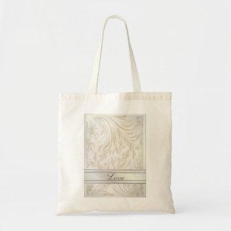 Formal Pearl White Damask Wedding Favor Budget Tote Bag