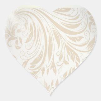 Formal Pearl White Damask Wedding Favor Heart Sticker