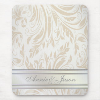 Formal Pearl White Damask Wedding Favor Mouse Pad