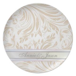 Formal Pearl White Damask Wedding Gift Plate