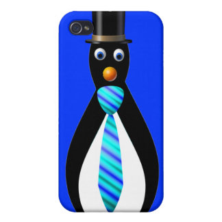 Formal Penguins: Blue Cover For iPhone 4