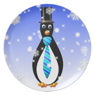 Formal Penguins: Blue Melamine Plate