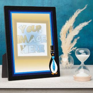 Formal Penguins Blue Display Plaque