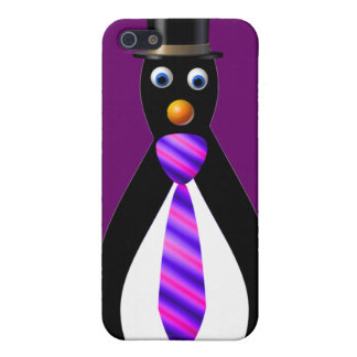 Formal Penguins: Purple Cover For iPhone SE/5/5s