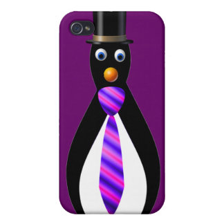 Formal Penguins: Purple iPhone 4 Cover
