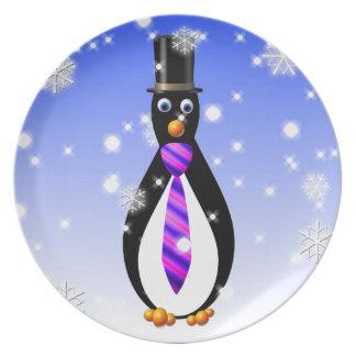 Formal Penguins: Purple Melamine Plate