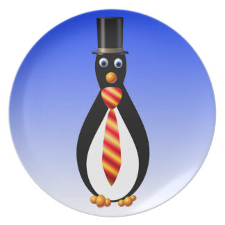 Formal Penguins: Red and Yellow Dinner Plate
