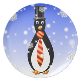 Formal Penguins: Red and Yellow Melamine Plate
