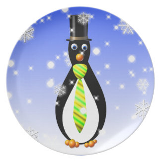 Formal Penguins: Yellow and Green Melamine Plate
