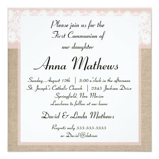 Formal Pink Lace Burlap First Communion Invitation
