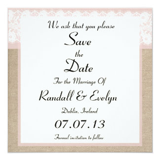 Formal Pink Lace Burlap Save The Date Notice Card