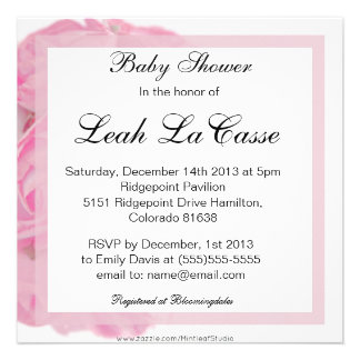 Formal Pink Roses It's a Girl Baby Shower Personalized Invite