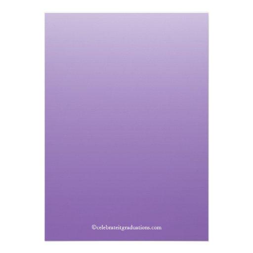 Formal Purple Elegant Flourish Graduation Party Custom Announcements (back side)