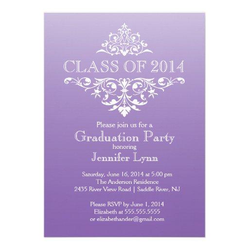 Formal Purple Elegant Flourish Graduation Party Custom Announcements (front side)