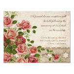 "Formal Reception Invitation Tea Rose Lace Vintage 4.25"" X 5.5"" Invitation Card"