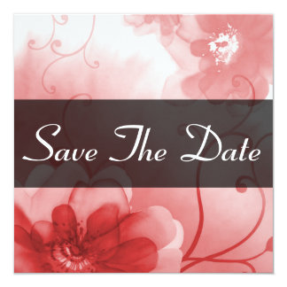 Formal Red and Gray Flower Save The Date Notice Card