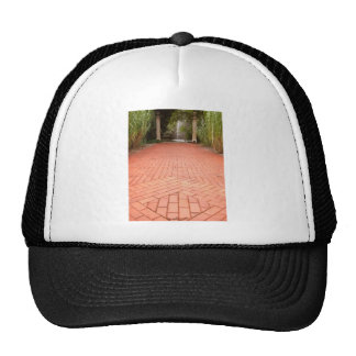 Formal Red Brick Path leading to Fountain Trucker Hat
