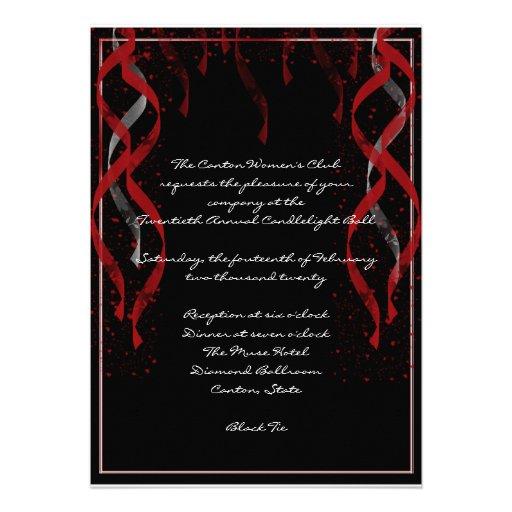 Formal Red Ribbon Heart Valentine Party Invitation