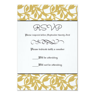 """Formal retro de la hoja de oro - tarjeta de RSVP Invitación 3.5"""" X 5"""""""