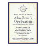 "Formal Royal Compass Map Graduation Announcements 5"" X 7"" Invitation Card"