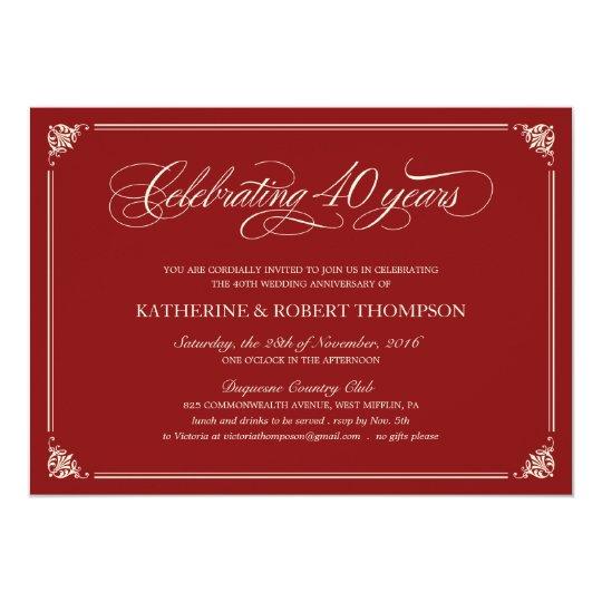 Th Wedding Anniversary Invitations  Th Wedding