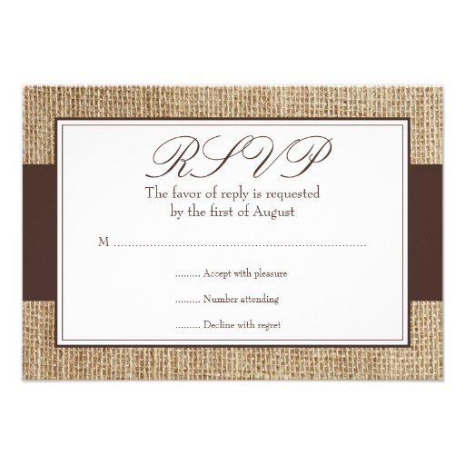 Formal rustic burlap brown response card 3 5 quot x 5 quot invitation card