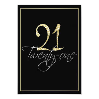 Formal Silver Black and Gold 21st Birthday Party Card