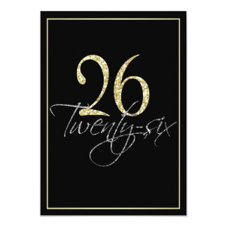 Formal Silver Black and Gold 26th Birthday Party 5x7 Paper Invitation Card