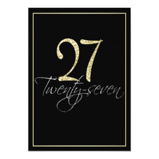 Formal Silver Black and Gold 27th Birthday Party 5x7 Paper Invitation Card