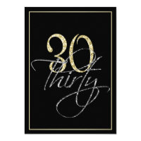 30th birthday invitations announcements zazzle formal silver black and gold 30th birthday party stopboris Images