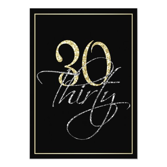 formal silver black and gold 30th birthday party invitation zazzle com