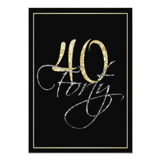 Formal Silver Black and Gold 40th Birthday Party Card