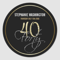 Formal Silver Black and Gold 40th Birthday Party Classic Round Sticker