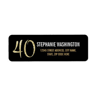 Formal Silver Black and Gold 40th Birthday Party Label