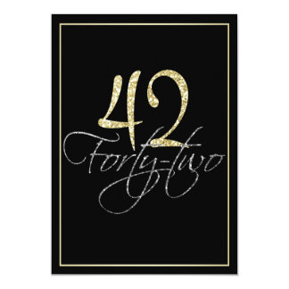 Formal Silver Black and Gold 42nd Birthday Party Card