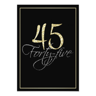 Formal Silver Black and Gold 45th Birthday Party Card
